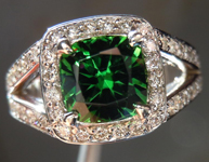 SOLD...Tourmaline and Diamond Ring: Precision Cut 1.39ct Chrome Tourmaline 14K Gold Diamond Halo  R4183