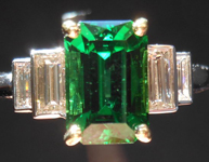 SOLD........Chrome Tourmaline and Diamond Ring: Precision Cut 1.70ct Chrome Tourmaline Emerald Cut Five Stone Ring R4182