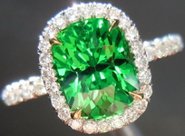 Halo Tsavorite and Diamond Ring: Precision Cut 2.25ct Tsavorite Garnet Cushion Cut Spectacular Stone R4200
