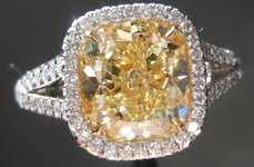 "Halo Yellow Diamond Ring: 2.45ct Cushion Cut Fancy Light Yellow SI1 GIA ""Uber"" Halo  R4202"