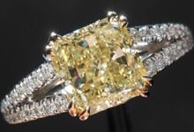 Diamond Ring: 2.24ct Radiant Cut Fancy Light Yellow VS2 GIA Split Shank R4203