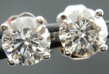 Diamond Earrings: .82ctw Four Prong Studs Spade Family Fantastic Cut R4099