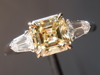 Asscher Diamond Ring: 1.01ct Asscher Cut Fancy Light Yellow VS1 GIA Rare Beauty R4210