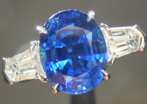 SOLD.....Sapphire and Diamond Ring: Precision Cut 2.58ct Blue Sapphire Cushion Cut Three Stone Ring R4191
