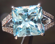 Aquamarine and Diamond Ring: Precision Cut 3.89ct Aquamarine Square Radiant Cut 18K R4188