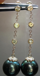 Diamond and Pearl Earrings: Cultured South Sea Pearl and .65cts Fancy Greenish Yellow Diamond Dangle Earrings R4074