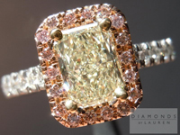 "SOLD....Yellow Diamond Ring: .91ct Radiant Cut Y-Z VS1 ""Pink Lemonade"" Diamond Halo Ring R4012"