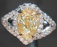 SOLD..Diamond Halo Ring: 1.32ct Pear Shape Fancy Light Yellow VS1 GIA Split Shank R4214