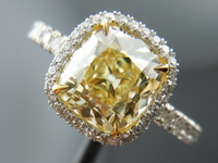 SOLD....Yellow Diamond Ring: 1.79ct Fancy Light Yellow Branded DBL Old Mine Brilliant GIA Uber Setting R3956