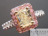 SOLD.......Radiant Diamond in Pink Diamond Halo: .78ct Radiant Cut W-X, Natural Light Yellow VS1 Sparkling Lemonade R4229