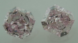 SOLD....Matching Pair for Side Diamonds: Natural Purplish Pink GIA Radiant Cut R4227
