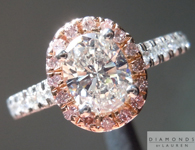 SOLD....Oval Diamond Ring: .76ct Oval Shape K/VVS2 GIA Pink Diamond Halo Ring R4260