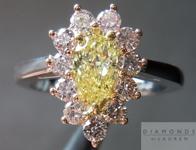 SOLD.... Pink Lemonade Diamond Ring: .46ct Pear Shape Fancy Intense Yellow VVS2 PInk Diamond Halo GIA Vibrant Color R4281
