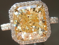 Halo Yellow Diamond Rings: 4.07ct Radiant Cut Fancy Light Yellow VVS2 GIA Uber ring R4289