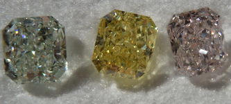 SOLD....Loose Diamond Suite: Fancy Light Green, Pink and Yellow GIA Radiant for Ring R4279
