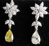 SOLD......Diamond Earrings: 4.51ct TW Fancy Yellow and G color Pear and marquise Dangle R3878