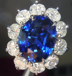 Sapphire and Diamond Ring: 5.30ct Oval Cut Ceylon Sapphire and Oval Diamond Ring in Platinum R4086