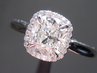 SOLD....Halo Diamond RIng: 1.05ct Cushion Cut Diamond H/SI1 GIA Uber Halo- Plain Shank R4322