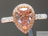 Pink Diamond Ring: 1.04ct Pear Shape Fancy Brown-Pink SI2 GIA Halo Ring R4326