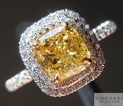 Yellow Diamond Ring: 1.03ct Cushion Cut Fancy Intense Yellow VS2 GIA Double Halo R4335