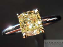 "Diamond Ring: 1.01ct Cushion Cut Fancy Light Yellow VS1 GIA ""Uber"" Solitaire R4344"
