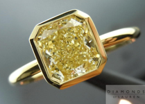Yellow Diamond Ring: 1.23ct Radiant Cut Fancy Light Yellow VS1 GIA 18K Gold Bezel Ring R4349