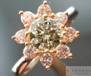 SOLD...Pink Diamond Halo Ring: .70ct Fancy Greenish Yellow-Gray CHAMELEON Diamond VS2 GIA Pink Diamond Halo R4242