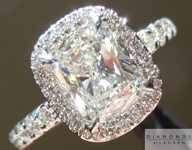 SOLD....Diamond Ring: 1.51ct L/SI1 Cushion Diamond GIA Diamond Halo Ring R4384