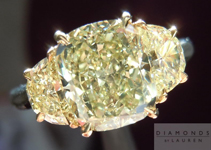 SOLD....Three Stone Diamond Ring: 2.01 Greenish Yellow w Yellow Half Moon Diamonds GIA R4395
