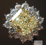 SOLD.... Yellow Diamond Ring: 3.37ct Y-Z Light Yellow VS2 Radiant Cut GIA Princess Halo Ring R4383