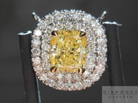 SOLD....Diamond Pendant: .72ct Cushion Cut Fancy Intense Yellow SI1 GIA Double Halo Necklace R3709