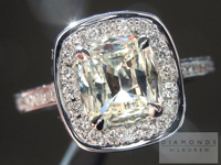 SOLD....Diamond Halo Ring: 1.01ct S-T VS2 Cushion Cut Diamond set in Platinum R2948