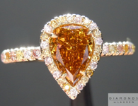 Halo Diamond Ring: .87ct Pear Modified Brilliant Diamond Deep Brownish Orange Yellow GIA  R4398