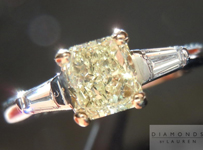 SOLD....Three Stone Ring: .69ct Radiant Cut W-X SI1 Tapered Baguette Sides Trade Up Special R411