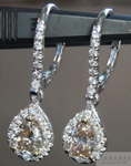 SOLD....Diamond Earrings: Fancy Yellowish Brown Pear Shape Dangle Diamond Halo Earrings R3931