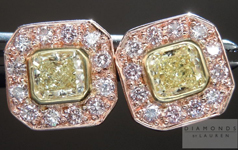 "SOLD....Diamond Earrings: Natural Light Yellow Diamond Halo ""Pink Lemonade"" Earrings R4374"