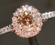Brown Diamond Ring: .67ct Old European Cut Fancy Yellowish Brown VS2 GIA Pink Diamond Halo R4444