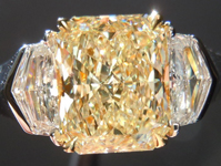 SOLD...Yellow Diamond Ring: 1.62ct Radiant Cut W-X VS2 Diamond GIA Silky Finish R3550