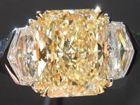 SOLD...Yellow Diamond Ring: 1.62ct Radiant Cut W-X VS2 Diamond GIA Silky Finish R3550