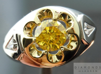 "Yellow Diamond Ring: .57ct Fancy Vivid Yellow GIA ""Uber"" Ring with Kite Shape Diamonds R4432"