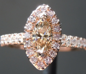 Brown Diamond Ring: .35ct Fancy Light Yellowish Brown SI1 Marquise Diamond Halo RingR4414