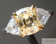Yellow Diamond Ring: 1.66ct Y-Z SI1 Branded DBL Modern Antique Three Stone Ring GIA R4448