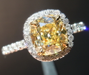 SOLD.... 1.33ct Fancy Yellow SI1 Old Mine Brilliant Branded Diamonds by Lauren antique diamond R4446