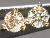 SOLD...Yellow Diamond Earrings: .29ctw W-X VS1 Three Prong Studs 18K Yellow Gold R4367