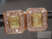 0.87ctw Natural Yellow and Pink Diamond Earrings R4415