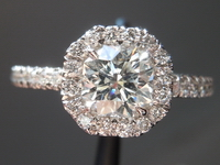 SOLD....Octagon Brilliant Diamond Halo Ring: .74ct Halo Ring R4371