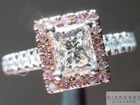 Pink Diamond Halo Ring: .70ct Princess Cut J/SI1 GIA Pink Diamond Halo Laser Inscribed R4453