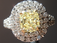 SOLD....Halo Diamond Ring 1.14ct Fancy Yellow Diamond Ring Micro Pave GIA R4402