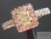 SOLD....Yellow and Pink Diamond Ring: .35ct Y-Z VS1 Radiant Cut with Pink Diamond Halo R4399