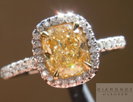 SOLD....Yellow Diamond Halo Ring: 1.17ct Fancy Light Yellow Cushion Cut Diamond Halo Ring R4054